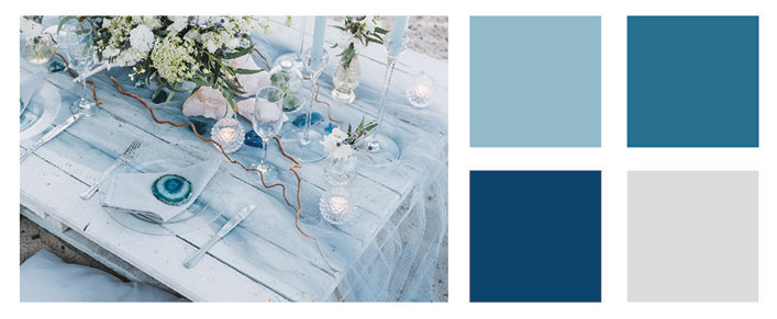 Various shades of sea blue color palette.