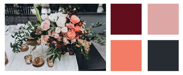 Burgundy and peach color palette.