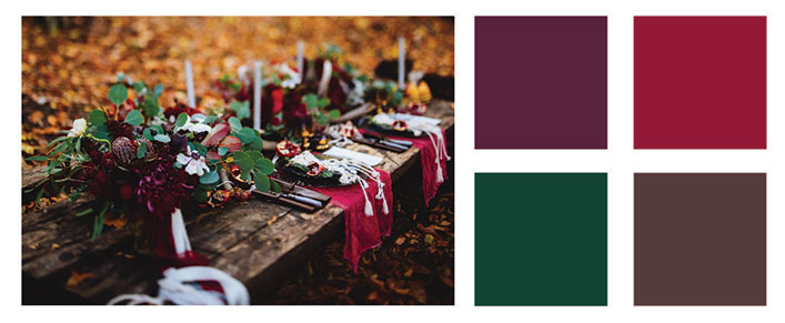 Maroon and forest green color palette.