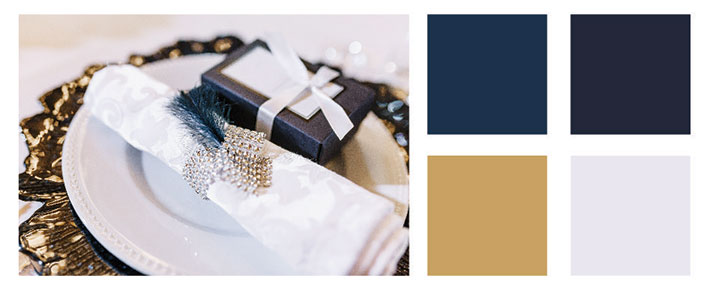 Navy and gold color palette.