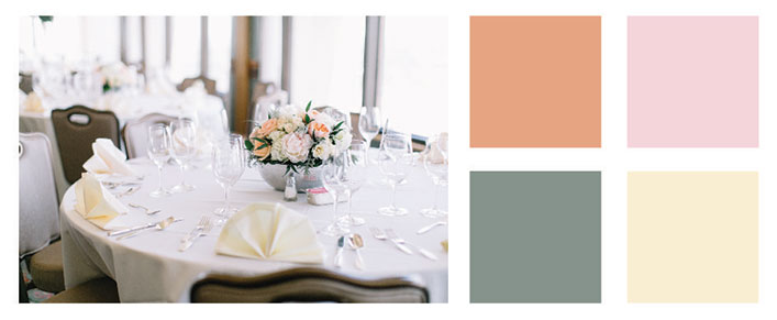 Dusty miller and muted peach color palette.