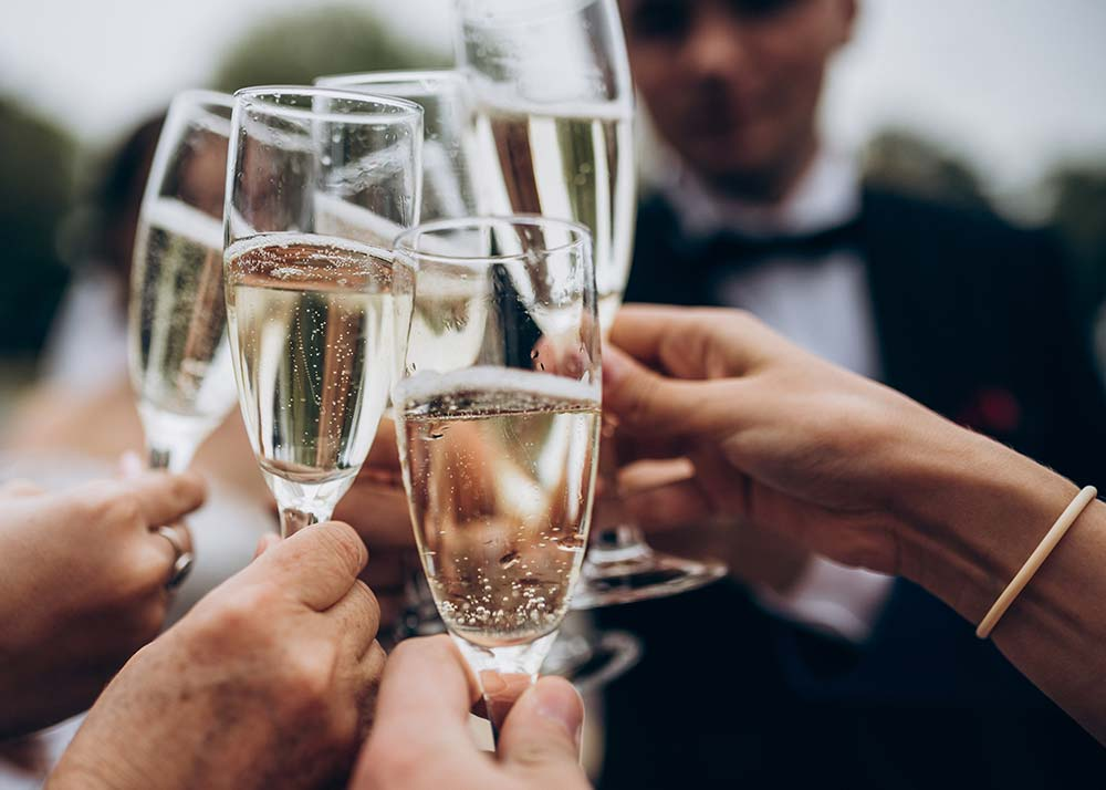 Group toasting with champagne glasses at a wedding.